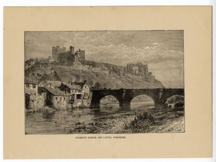 1890 Antique Print RICHMOND YORKSHIRE River Swale CASTLE Bridge HOUSES